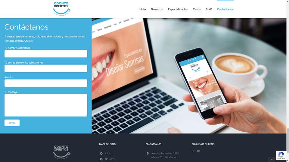 Captura de pantalla de la web odontoxpertos.com