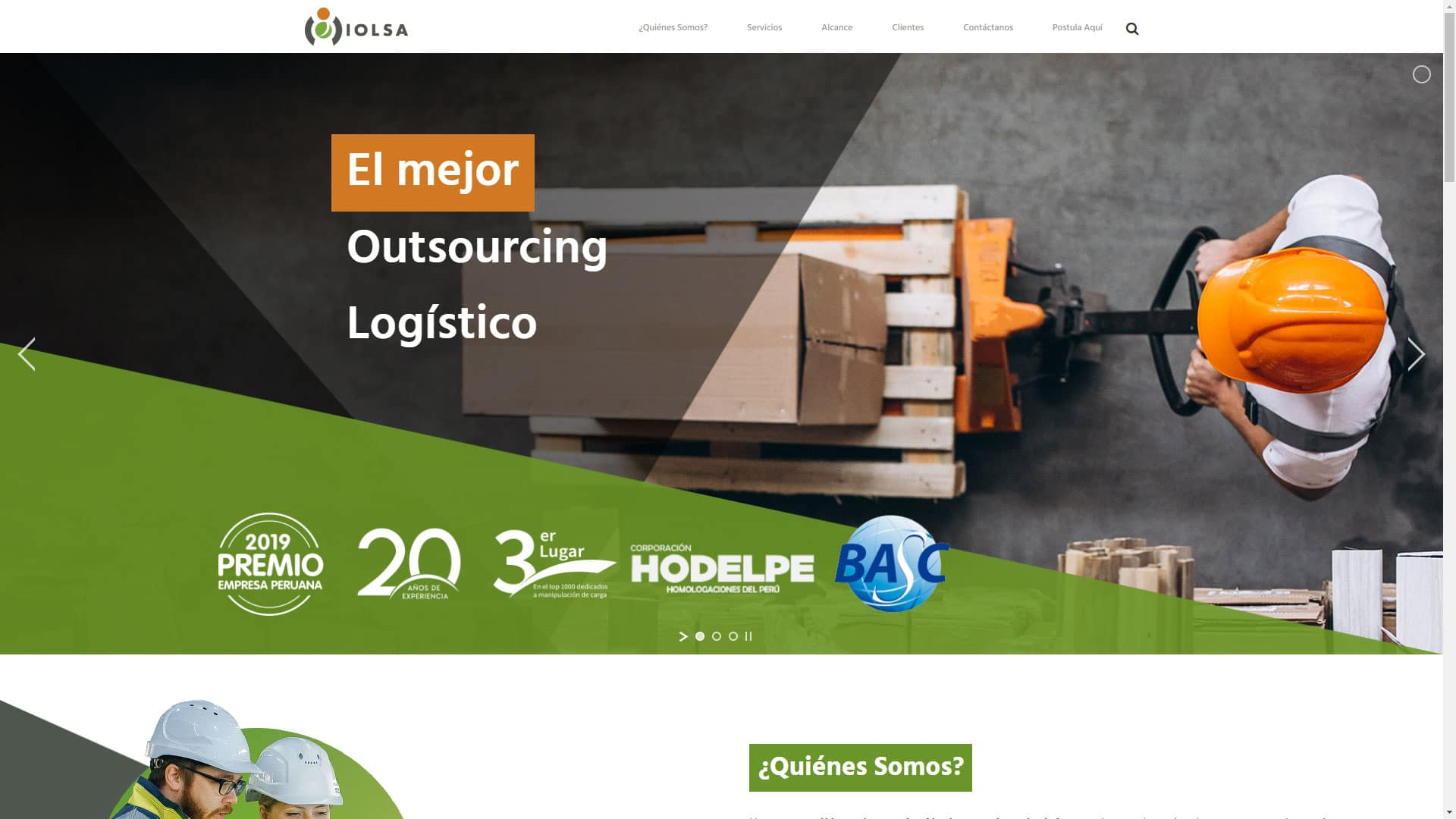 Captura de pantalla de la web iolsa.pe