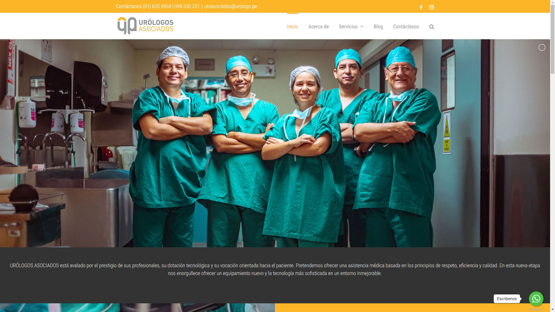 Captura de pantalla de la web urologo.pe
